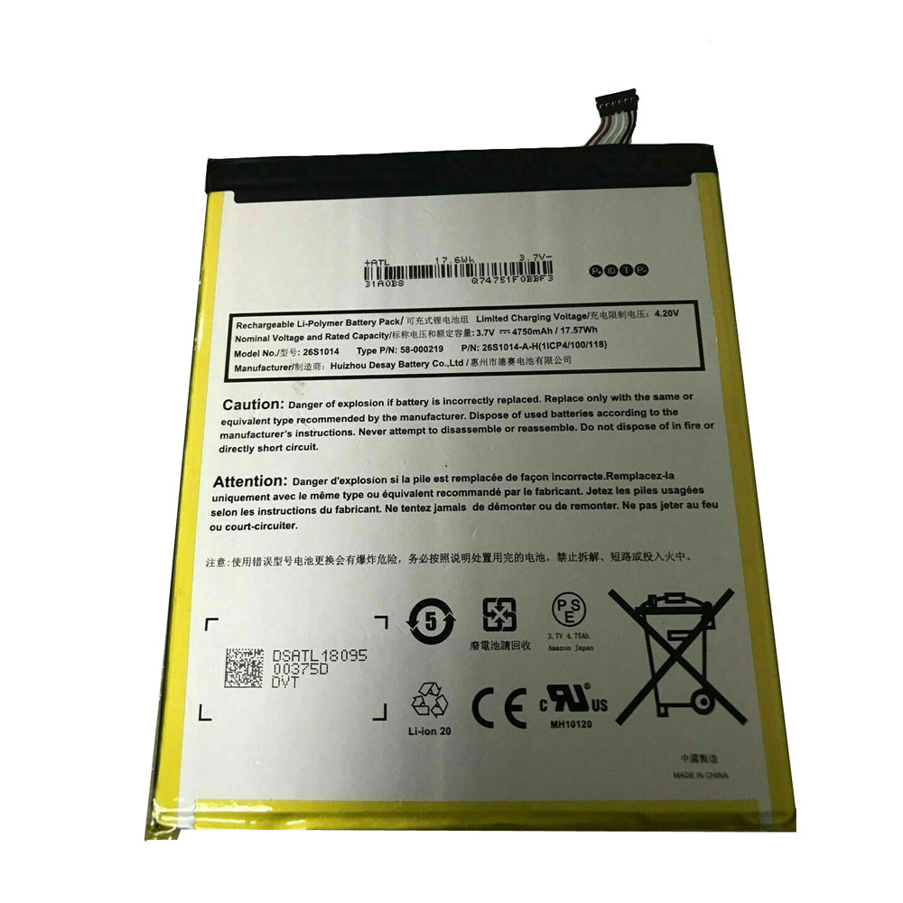 4750mAh/17.57WH 3.7V/4.2V 26S1014 Replacement Battery for Amazon 58-000181 26S1014-Y 1ICP4/100/118