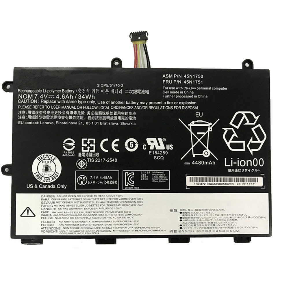 34wh/4600mAh 7.4V 45N1750 Replacement Battery for Lenovo ThinkPad Yoga 11e