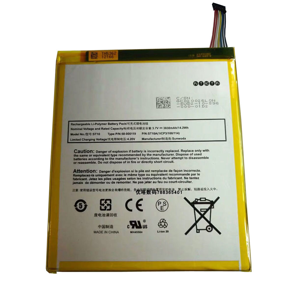 3830mAh/14.2WH 3.7V/4.2V 58-000119 Replacement Battery for Amazon Kindle Fire HD 10 B00VKIY9RG SR87CV