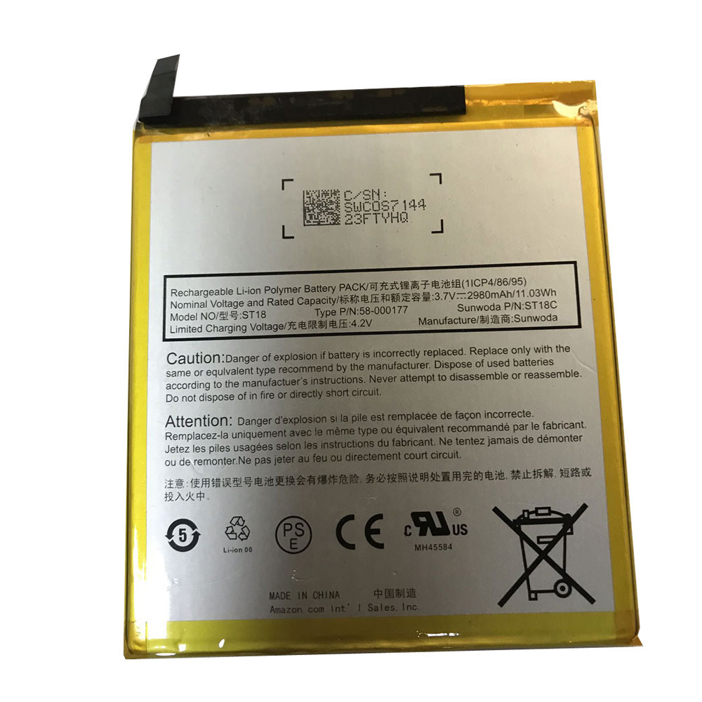 2980mAh/11.03WH 3.7V/4.2V 58-000177 Replacement Battery for Amazon Kindle Fire 7th Gen ST18C
