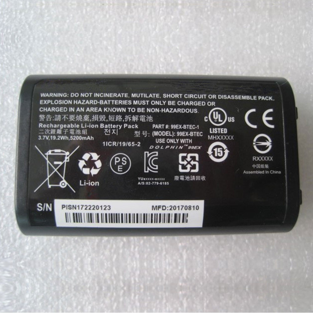 5000mAh/18.5Wh 3.7V 99EX-BTEC-1 Replacement Battery for Dolphin 99EX Honeywell 99GX