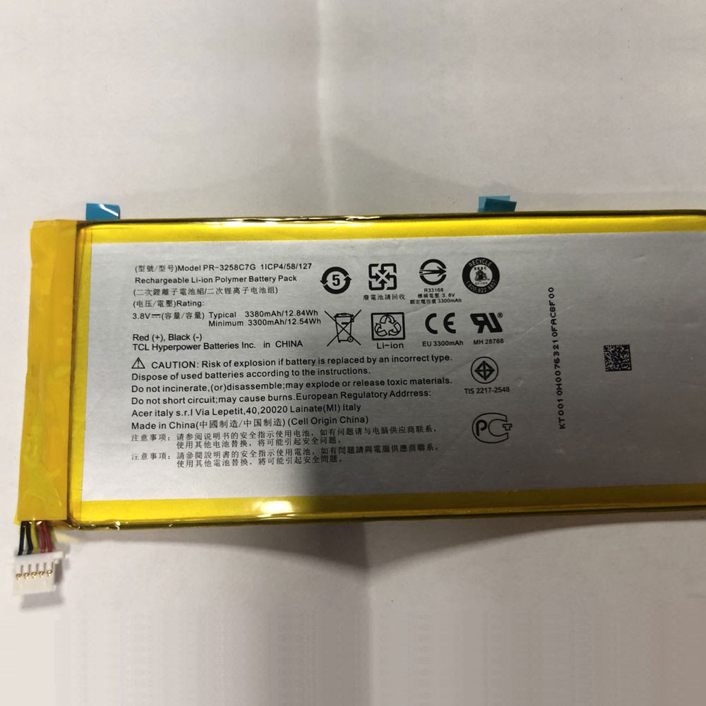 3380mAh/12.84WH 3.8V PR-3258C7G Replacement Battery for Acer Iconia Talk S A1-734