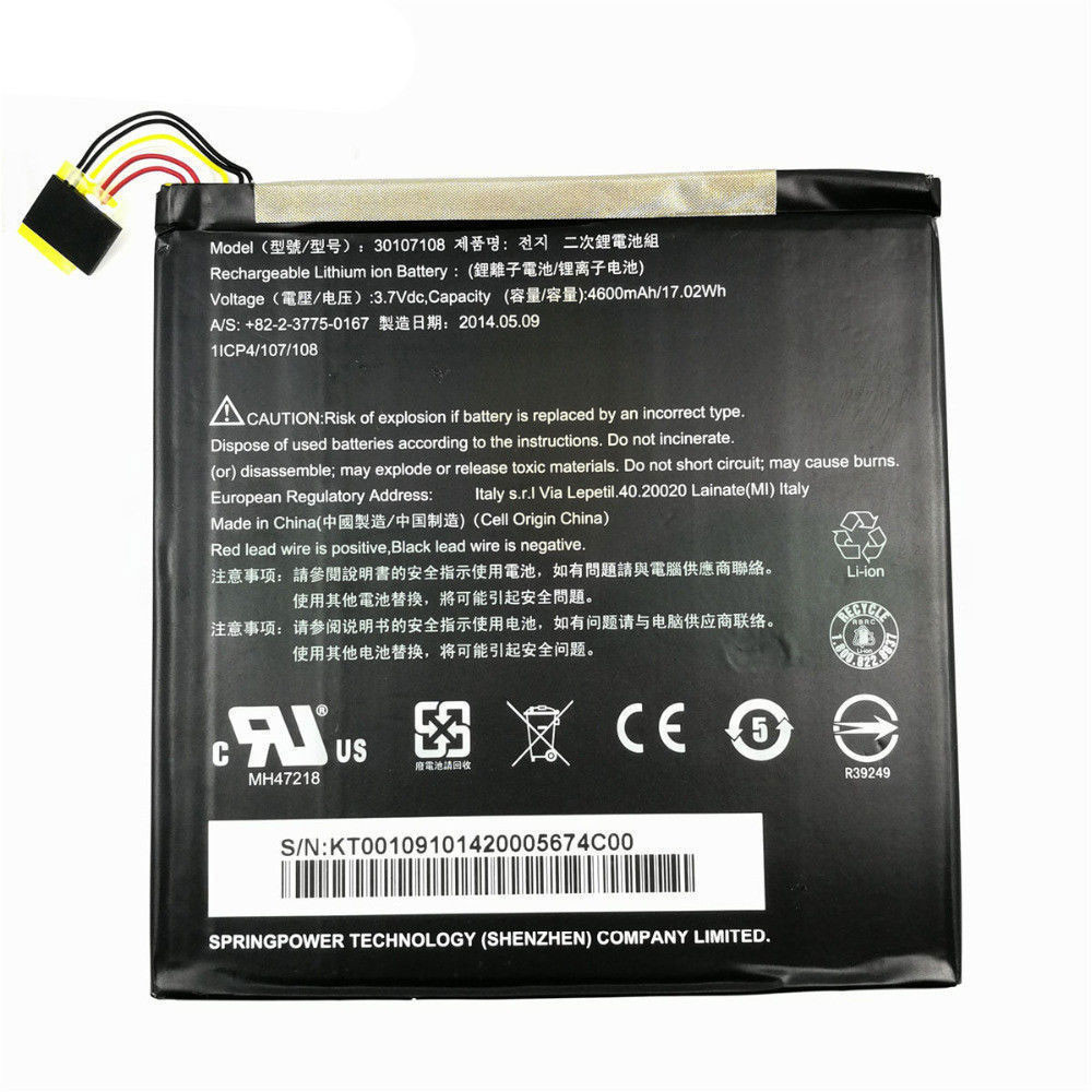 4600MAH/17.02WH 3.7V 30107108 Replacement Battery for Acer Iconia Tab 8 8 A1-840 A1-840FHD