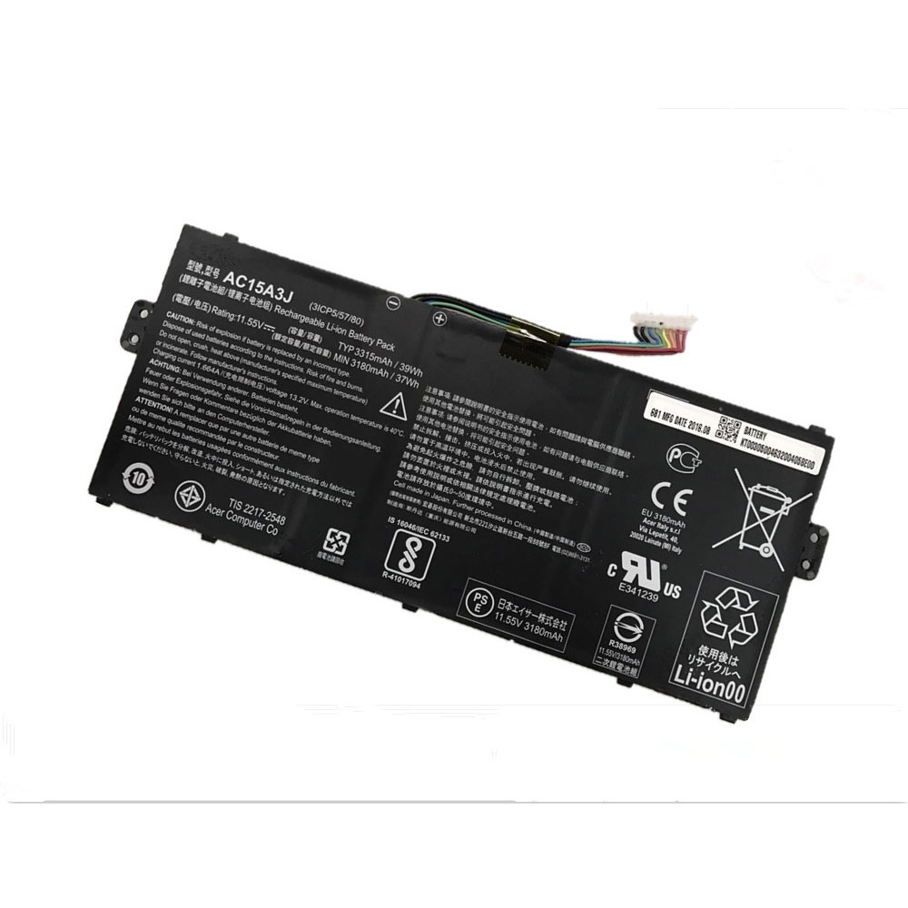 3315mAh/39Wh  11.55V AC15A3J Replacement Battery for Acer Chromebook R11 CB5-132T CB3-131 C738T C735
