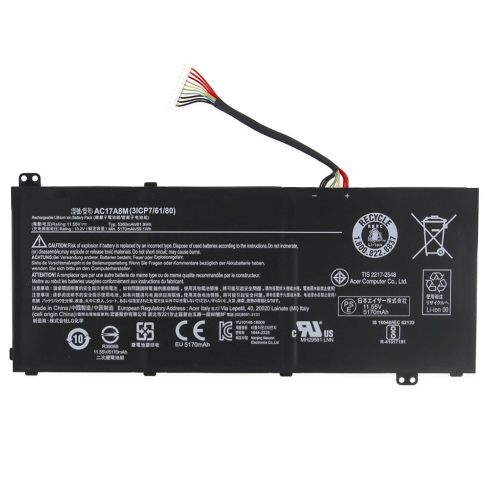 5170mAh/59.1WH 11.55V/13.2V AC17A8M Replacement Battery for Acer Spin 3 SP314-51 14