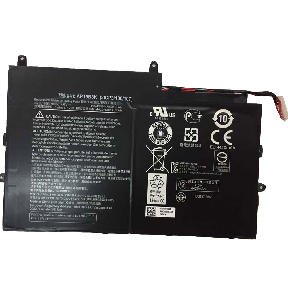 4550Wh/34.5Wh Acer Aspire Switch 11 SW5-173 SW5-173P series Replacement Battery AP15B8K 7.6V