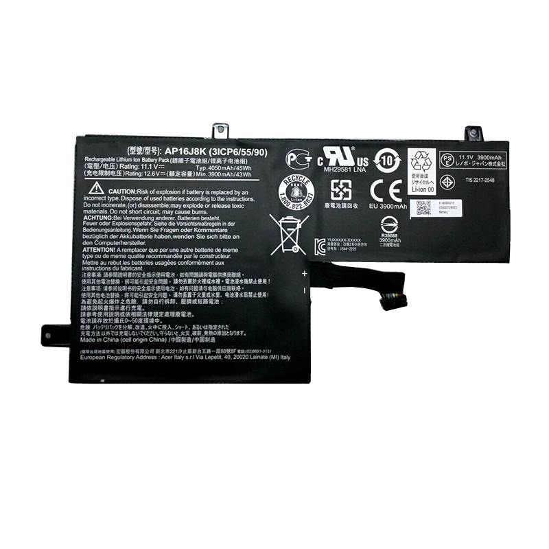 4050mah Acer AP16J8K 3ICP6/55/90 series Replacement Battery AP16J8K 11.1V