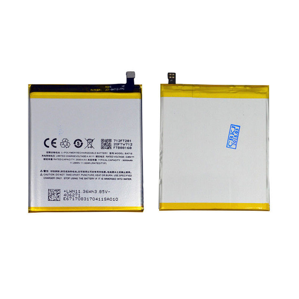930mAh/11.28WH 3.85V/4.4V BA712 Replacement Battery for Meizu Meilan S6 M712Q/M/C