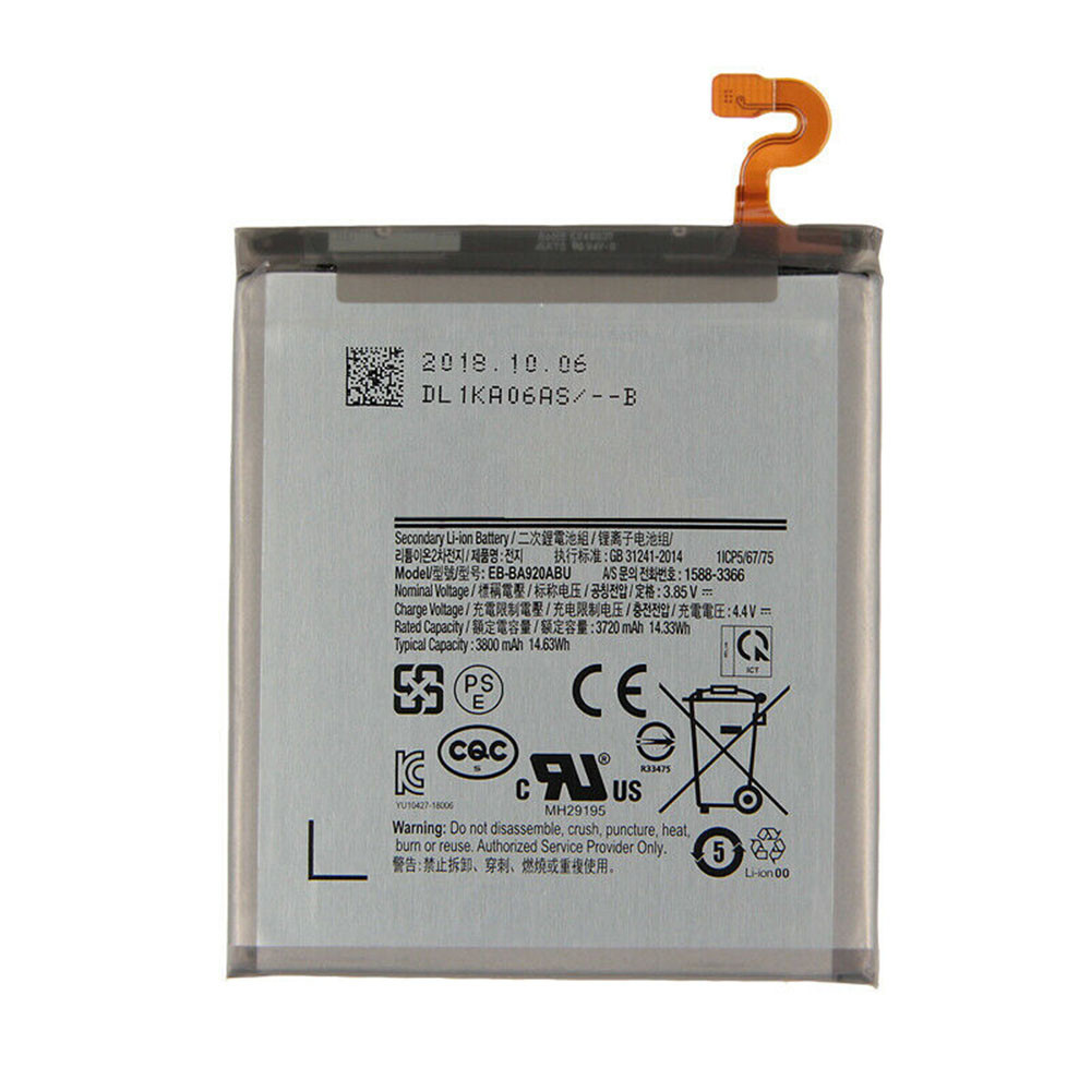 3720mAh/14.33WH 3.85V/4.4V EB-BA920ABU Replacement Battery for Samsung Galaxy A9s SM-A9200 A9200