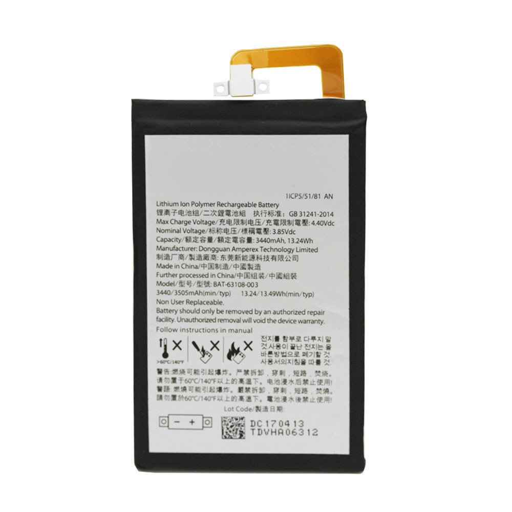 3440 mAh 13.24Wh 3.85 V BAT-63108-003 Replacement Battery for Blackberry Keyone DTEK70 DK70