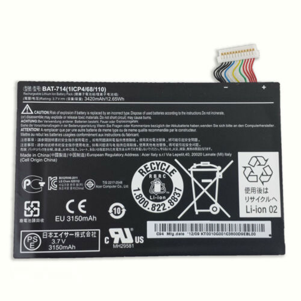 3420mAh/12.65WH 3.7V BAT-7144200JPY Replacement Battery for Acer Iconia Tab A110 DR-A110