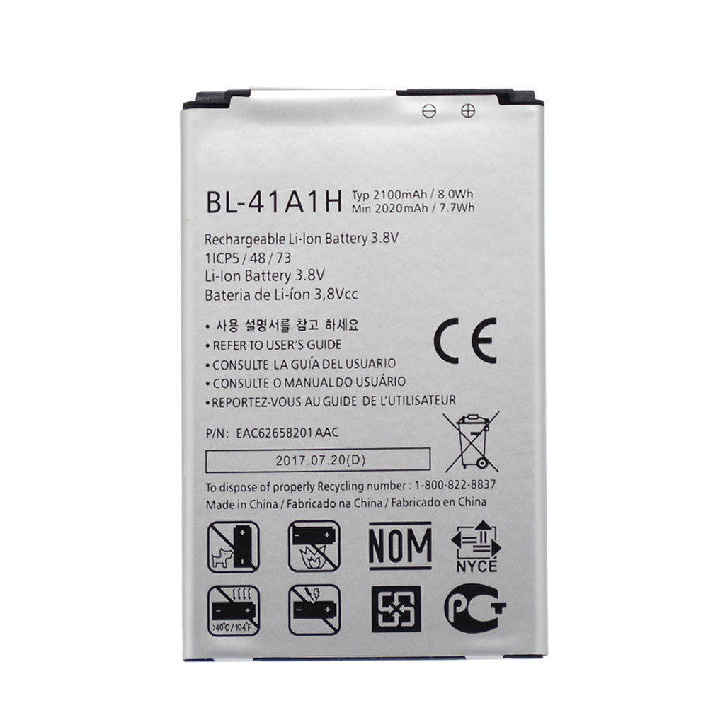 2100mAh/8.0WH 3.8V BL-41A1H Replacement Battery for LG Optimus F60 MS395 D390N Tribute VS810PP Transpyre LS66