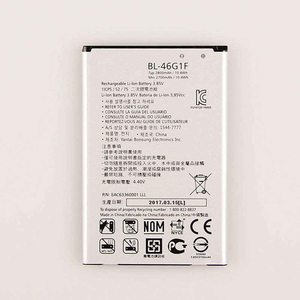 2800MAH/10.8Wh 3.85V/4.4V BL-46G1F Replacement Battery for LG 2017 Version K10 X400 LGM-K121K BL46G1F