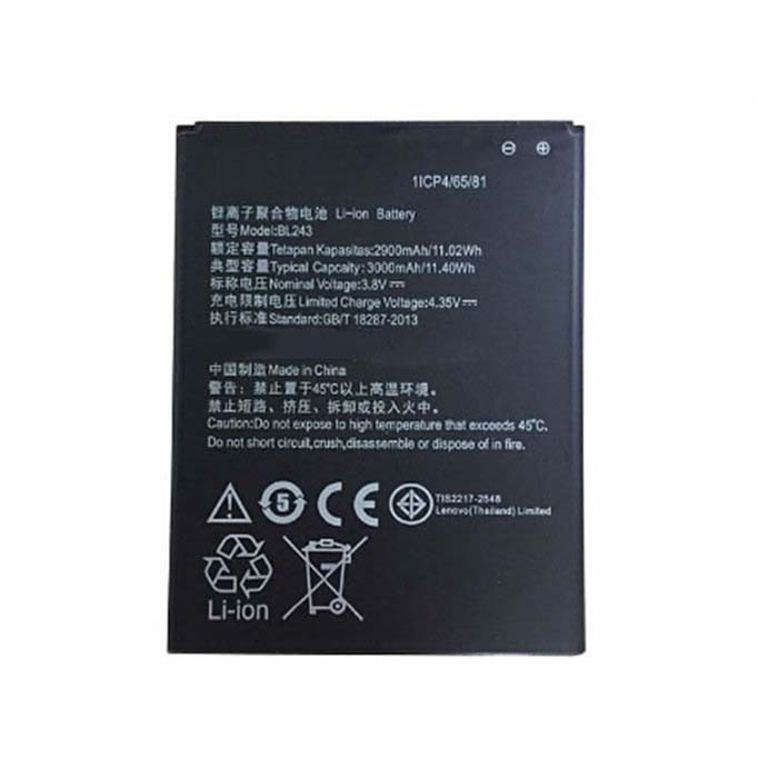 2900-3000mAh/11.02-11.40Wh lenovo a7000 lenovo k50 k50t Replacement Battery BL243 3.8V