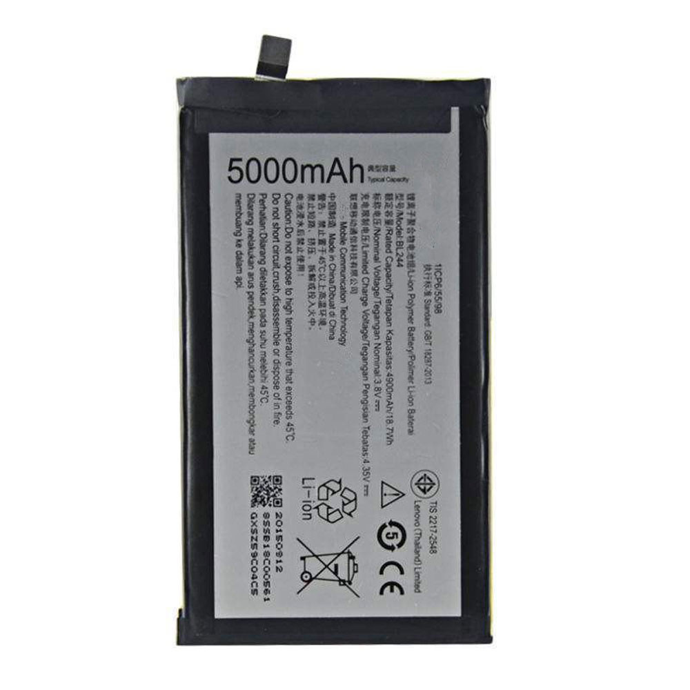 4900MAH/18.70Wh 3.8V/4.35V BL244 Replacement Battery for Lenovo P1 Turbo P1 Pro P1c58 P1c72 Vibe P1