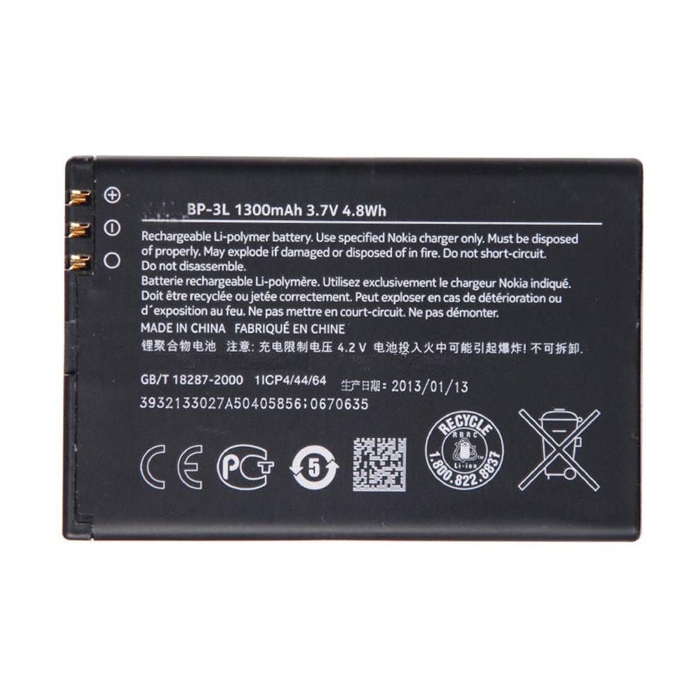 1300MAH/4.8WH 3.7V BP-3L Replacement Battery for Nokia Lumia 710 610 303 3030 510 603 610