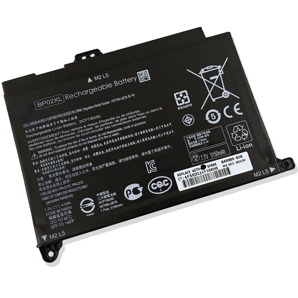 41Wh 7.7V BP02XL Replacement Battery for HP Pavilion Notebook PC 15 15-AU010WM 15-AU018WM