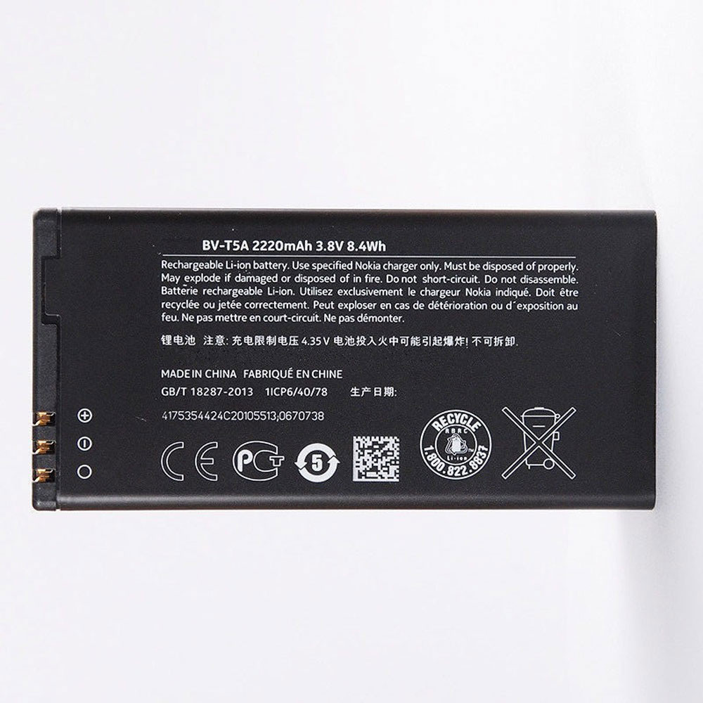 2220MAH/8.4WH 3.8V/4.35V BV-T5A Replacement Battery for Nokia Lumia 550 730 735 738 Superman RM1038 RM104