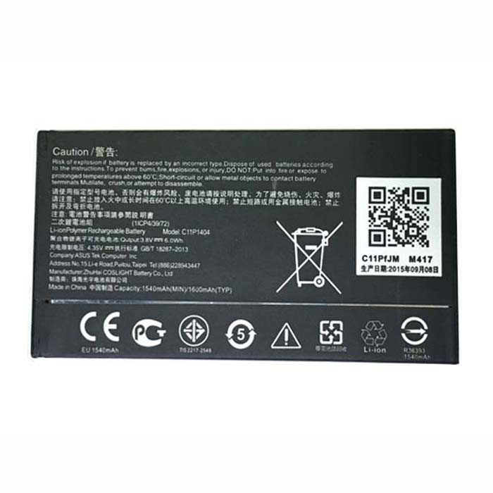 1540mAh ASUS Zenfone 4 A400CG Replacement Battery C11P1404 3.8V