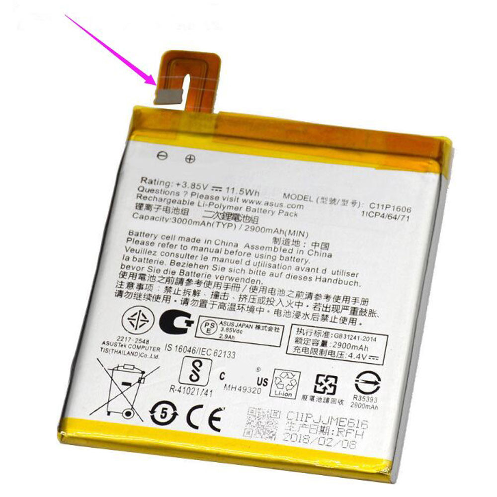 3000mAh/11.5Wh 3.85V/4.4V C11P1606 Replacement Battery for ASUS Zenfone 3 Laser 5.5 32 GB Smartphone -ZX551KL