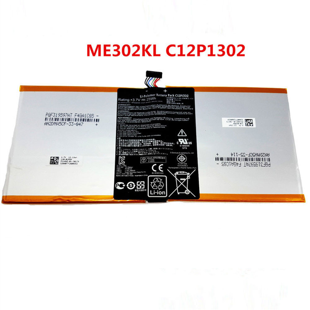 6560mAh/25WH 3.7V C12P1302 Replacement Battery for ASUS Memo Pad 10 ME302KL K005