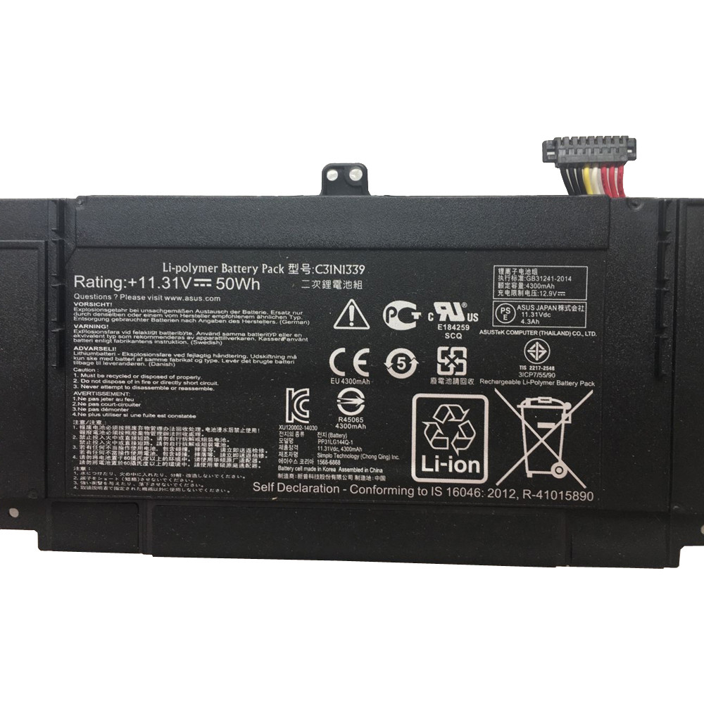 50Wh Asus ZenBook UX303L Q302L Laptop Replacement Battery C31N1339 11.31V 50Wh 11.31V