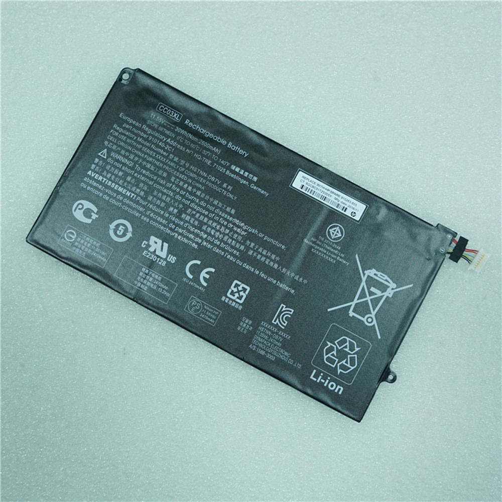 30Wh/2600mAh 11.55V CC03XL Replacement Battery for HP HSTNN-DB7V 910140-2C1 Series