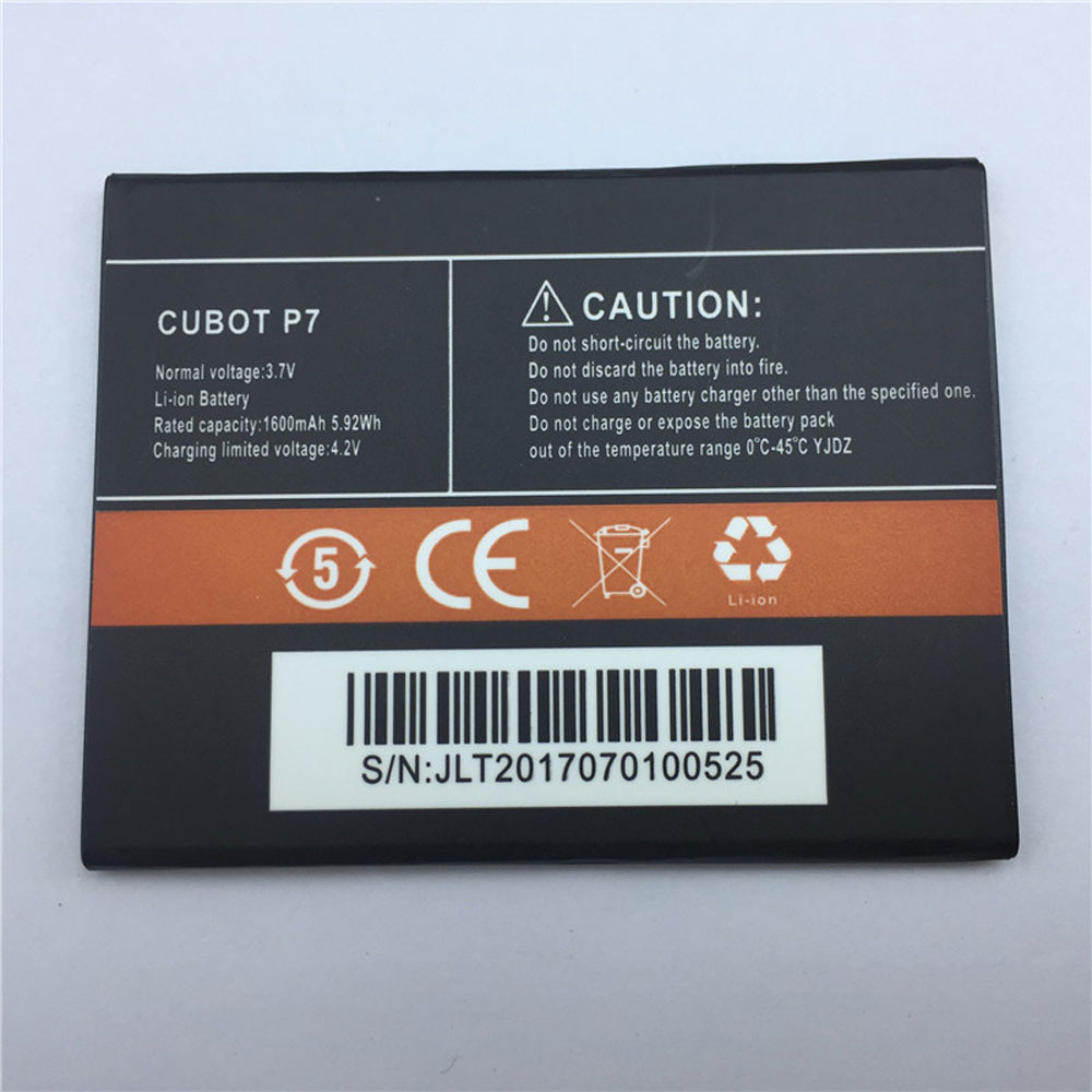 1600mAh/5.92WH 3.7V/4.2V P7 Replacement Battery for Cubot P7 Smart Phone