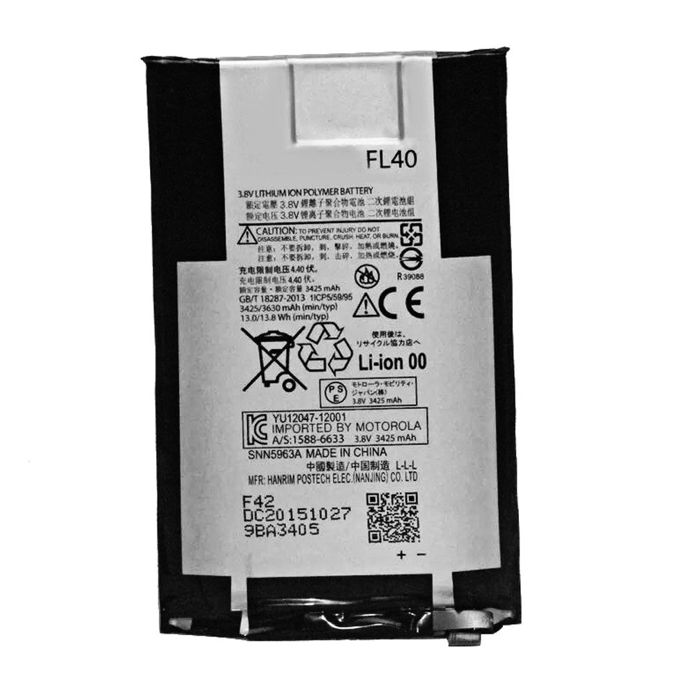 3425/3630mAh  min/typ   MOTOROLA DROID MAXX 2 XT1565 Replacement Battery FL40 3.8V