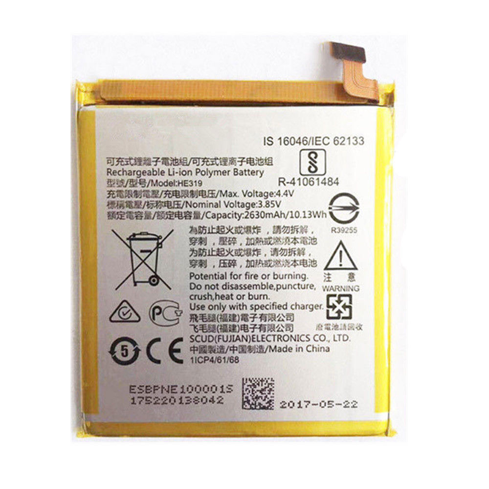 2630MAH/10.13WH 3.85V/4.4V HE319 Replacement Battery for Nokia 3 TA-1020 1028 1032 1038