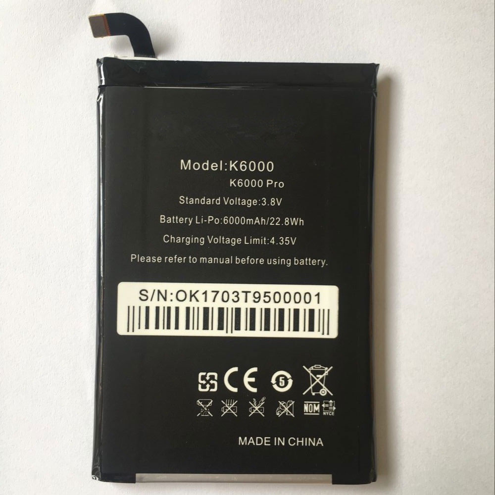 6000mAh/22.8WH 3.8V/4.35V K6000 Replacement Battery for oukitel K6000/K6000 PRO
