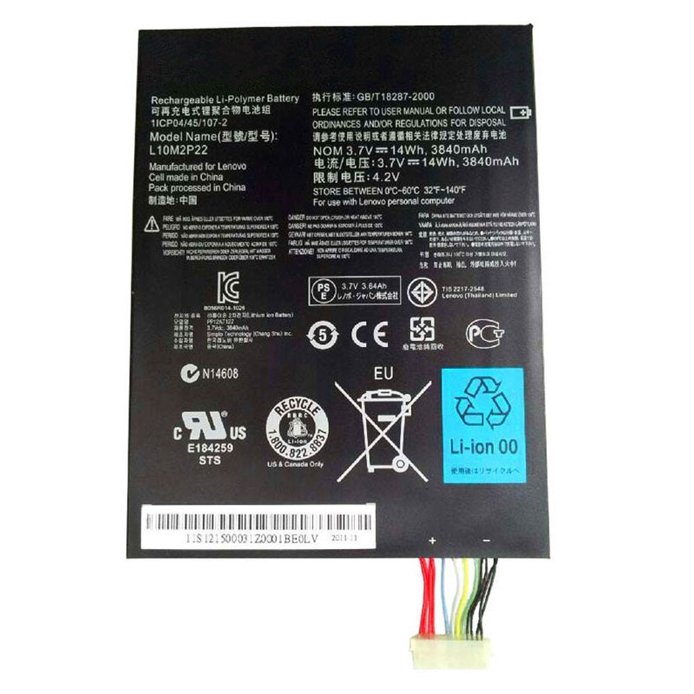3840mAh/14WH 3.7V/4.2V L10M2P22 Replacement Battery for Lenovo Tab S2007 S2007A S2007A-D Series