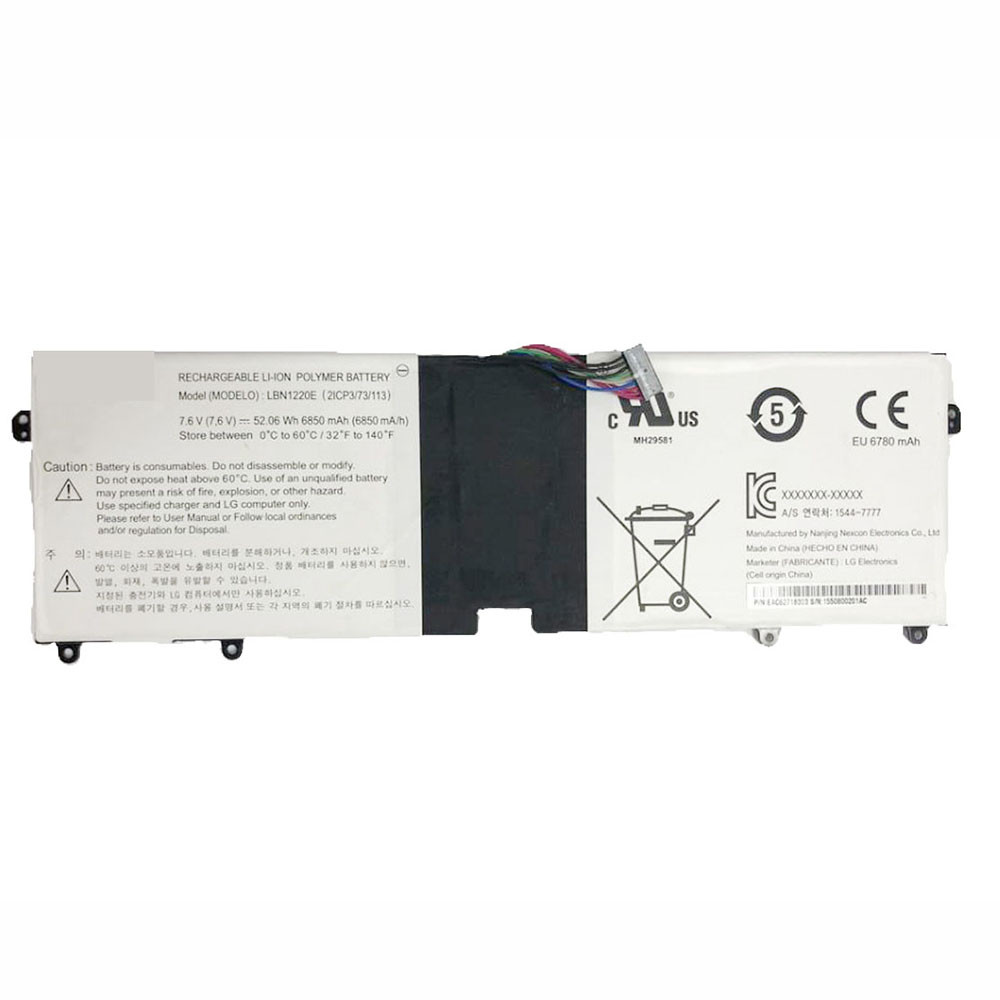 6850mAh/52.06WH 7.6V LBN1220E Replacement Battery for LG 15UD560-KX 15Z960-T