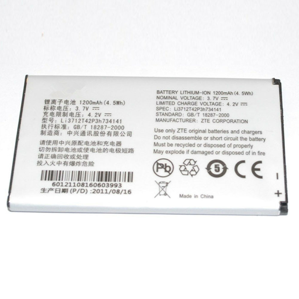 1200mAh/4.5WH 3.7V/4.2V Li3712T42P3h734141 Replacement Battery for ZTE U236 X500 Score