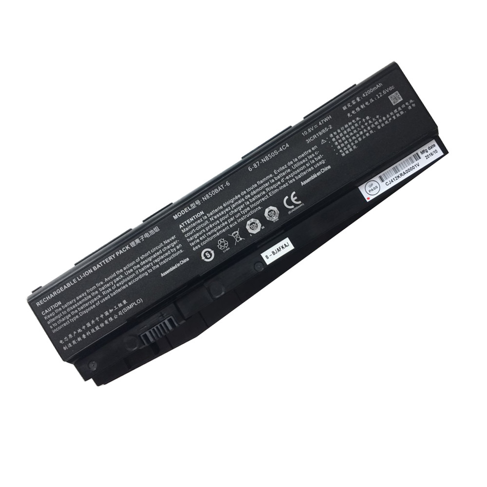 4200mAh/47Wh Clevo N850HC N850HJ N850HJ1 N850HK1 6-87-N850S-4C4 Replacement Battery N850BAT-6 10.8V