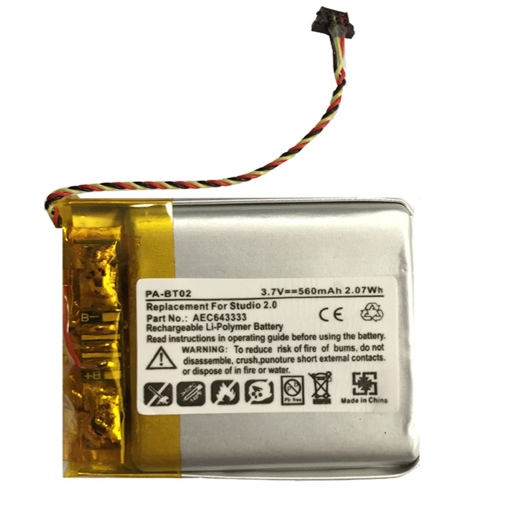 560MAH 3.7V AEC643333 Replacement Battery for Beats by Dre Studio 2.0 Part