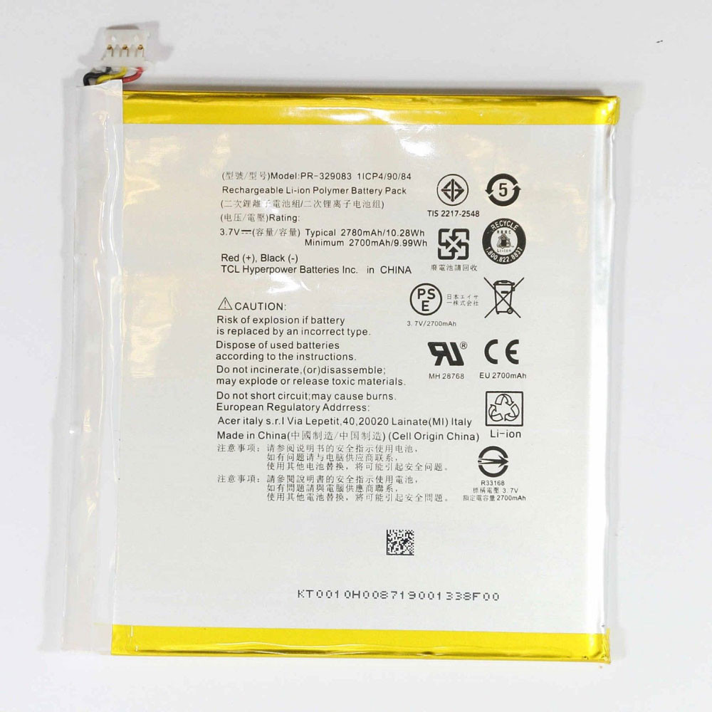 2780mAh/10.28WH 3.7V PR-329083 Replacement Battery for Acer Iconia One 7 B1-770 A5007
