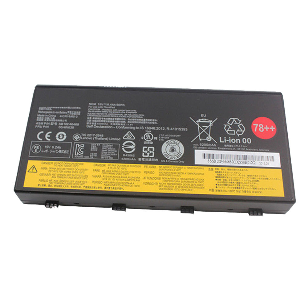 96Wh/6400mAh/8cells 15V 00HW030 Replacement Battery for Lenovo ThinkPad P70 Series