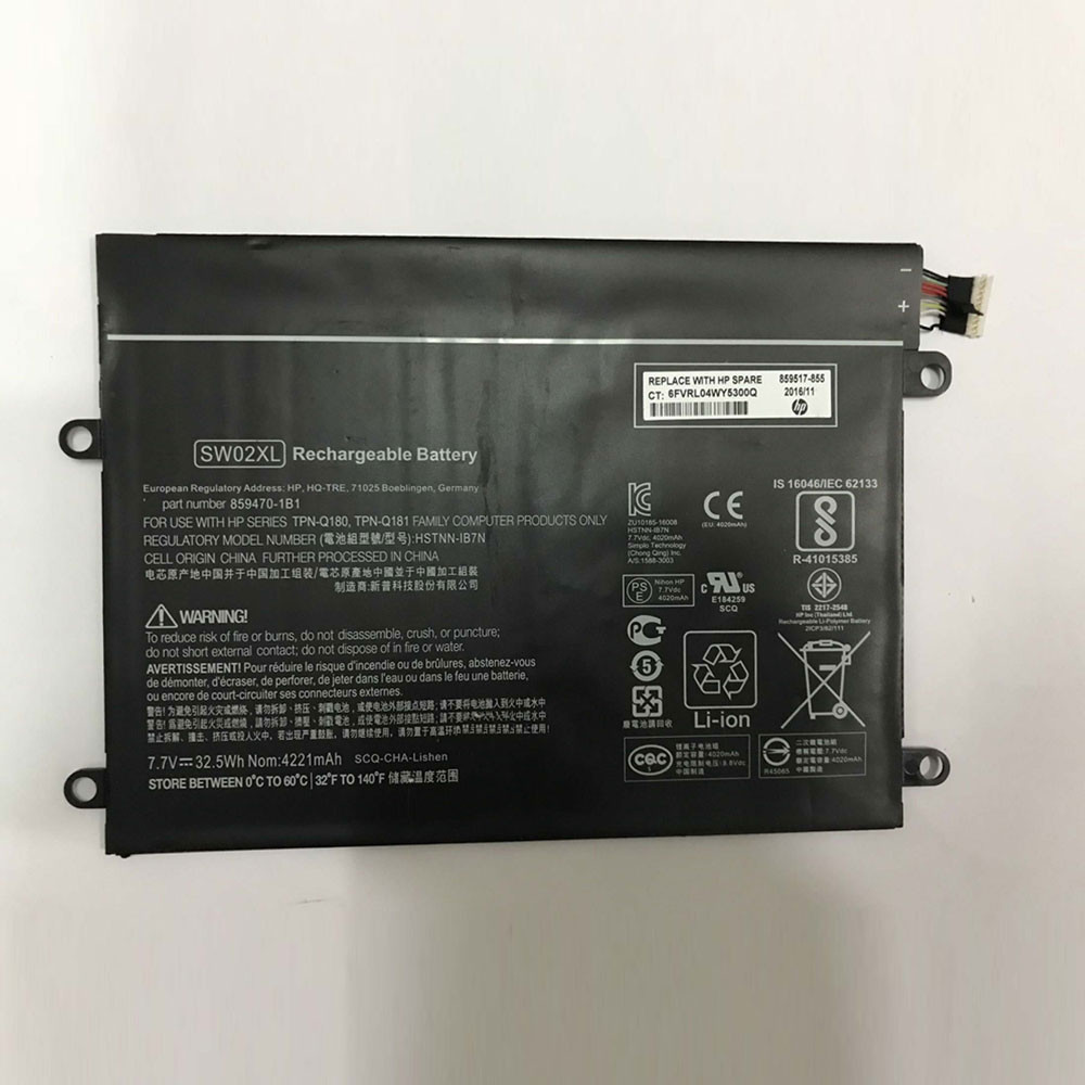 32.5Wh 7.7V HSTNN-IB7N Replacement Battery for HP Notebook x2 210 G2 Detachable PC 10
