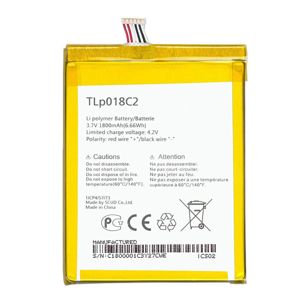 1800mAh/6.66WH 3.7V/4.2V TLP018C2 Replacement Battery for Alcatel One Touch Idol Ultra 6033 6033X