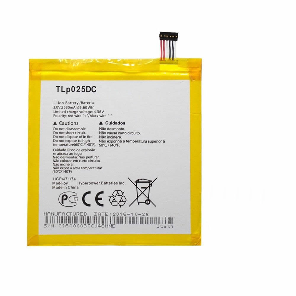 2580MAH/9.8Wh 3.8V/4.35V TLP025DC Replacement Battery for Alcatel One Touch Pixi 4 8050D 9001D