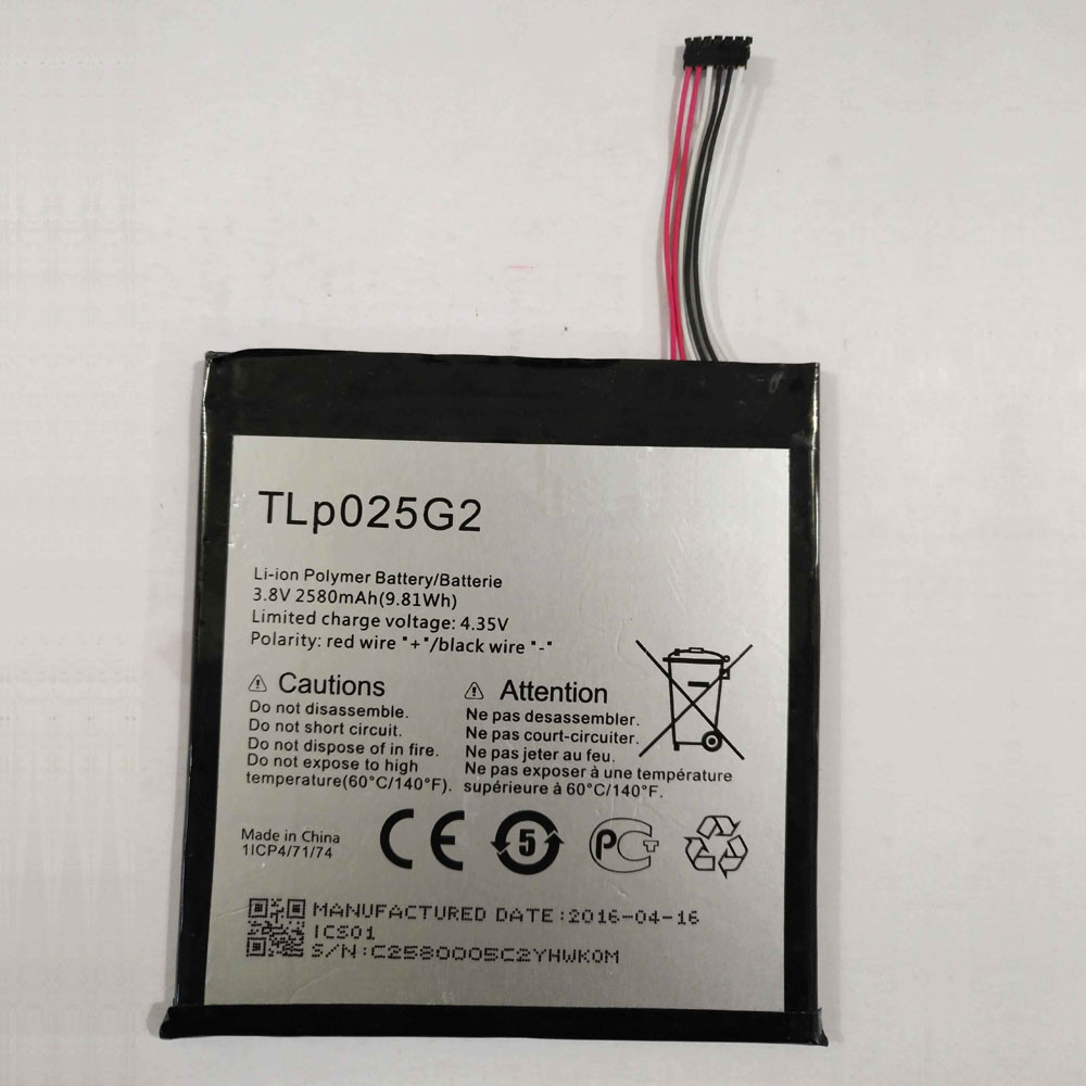 2580MAH/9.8Wh 3.8V/4.35V TLp025G2 Replacement Battery for ALCATEL OT- 9001A OT- 9001X OT-8050D OT-9003A OT-9003X