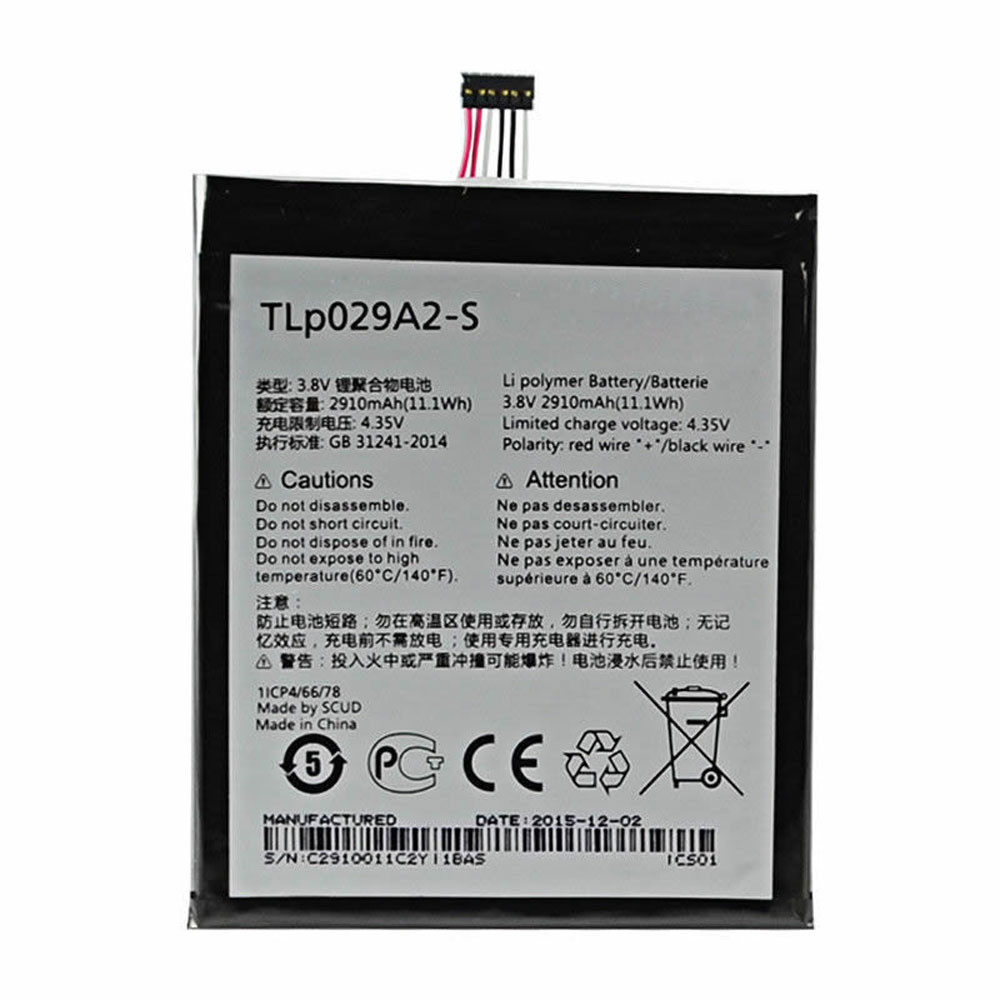2910MAH/11.1Wh 3.8V/4.35V TLP029A2-S Replacement Battery for Alcatel One Touch Idol 3 5.5 6045 6045F 6045Y 6045K