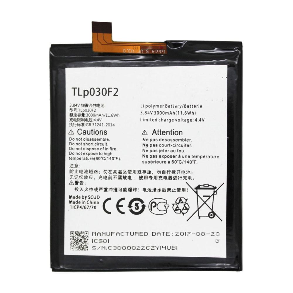 3000MAH/11.6Wh 3.84V/4.4V TLP030F2 Replacement Battery for Alcatel Onetouch 4S 6070O 6070K Y