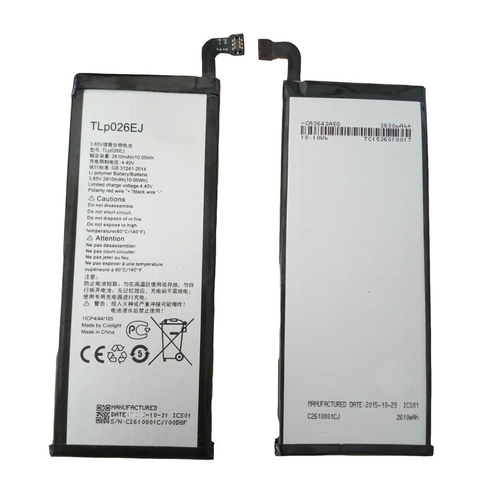 2610MAH/10.05Wh 3.85V/4.4V TLp026EJ Replacement Battery for Alcatel idol 4 OT6055 6055 6055K 6055B 6055H