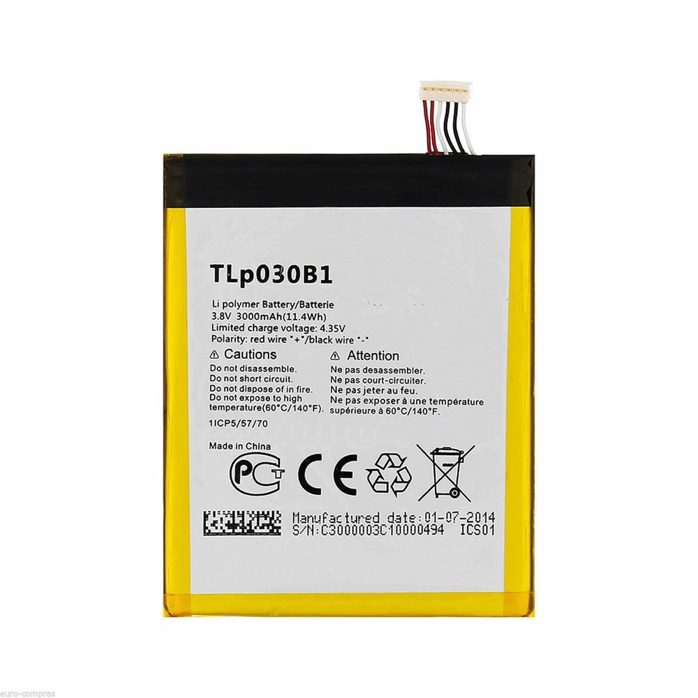 3000MAH/11.4Wh 3.8V/4.35V TLp030B1 Replacement Battery for Alcatel One Touch Pop S7 OT 7045 7045Y