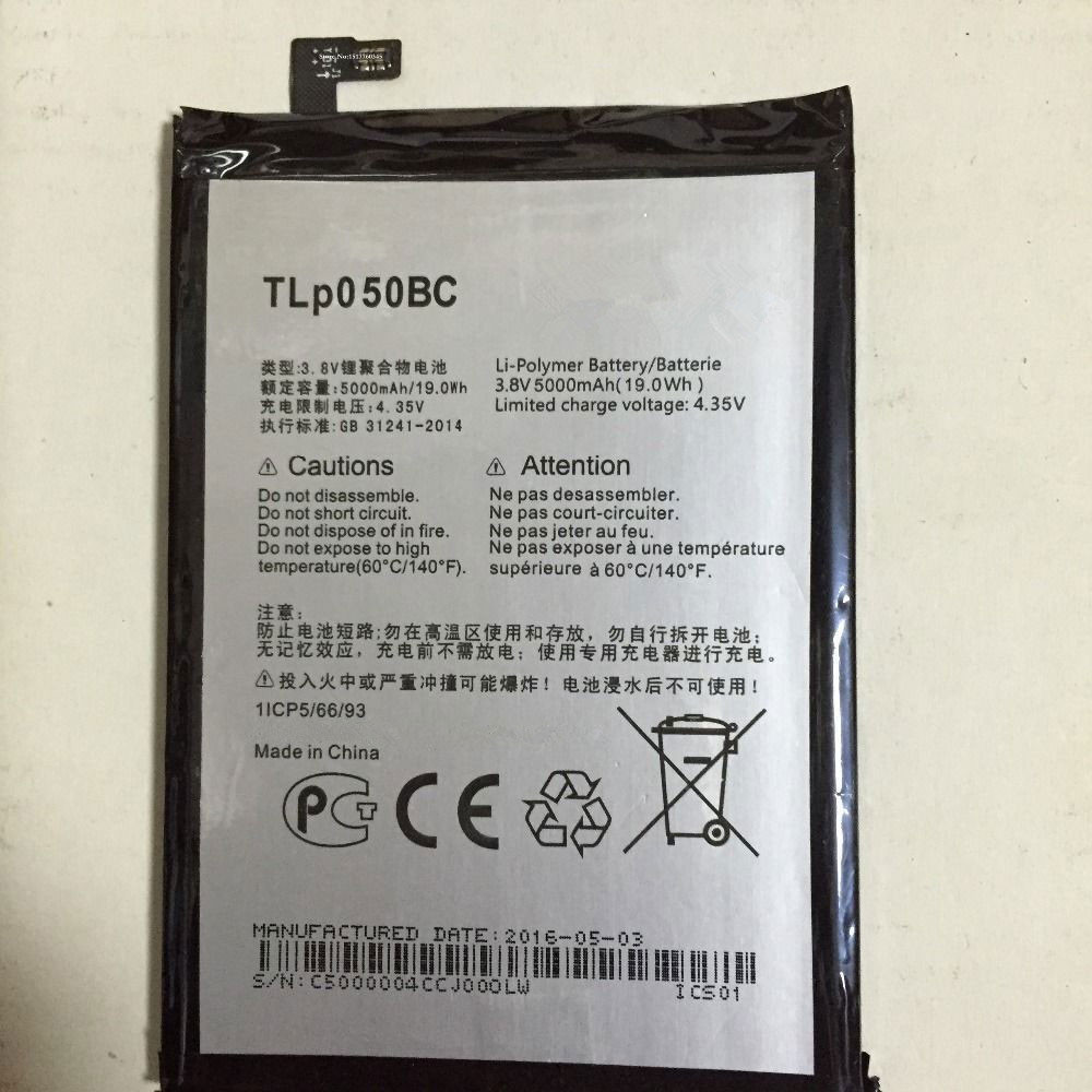 5000mAh/19.0WH 3.8V/4.35V TLp050BC Replacement Battery for Alcatel Onetouch