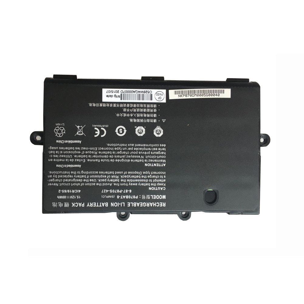 89Wh clevo P870 SERIES Replacement Battery P870BAT-8 15.12V