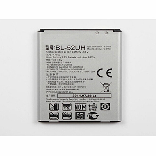 2040mah/2100mah/7.8Wh/8.0Wh LG L65 D285 VS876 BL52UH Lucid 3 Replacement Battery BL-52UH  3.8V