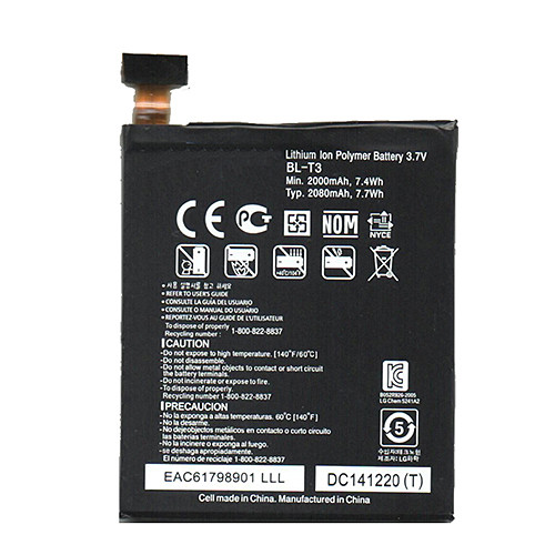 2000mAh/7.4Wh LG Intuition VS950 Optimus VU F100 P895 + Tools Replacement Battery BL-T3 3.7V
